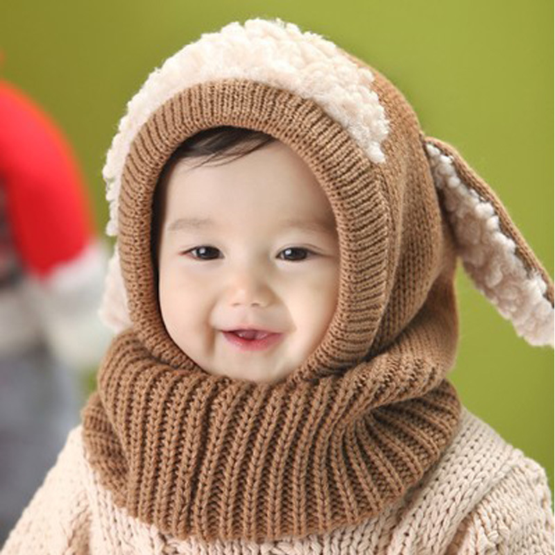 Boy's Accessories New Winter Kids Girls Boys Warm Woolen Coif Hood Scarf Caps Breathable Touca Inverno Scarves Caps Winter Warm Cap Lamb