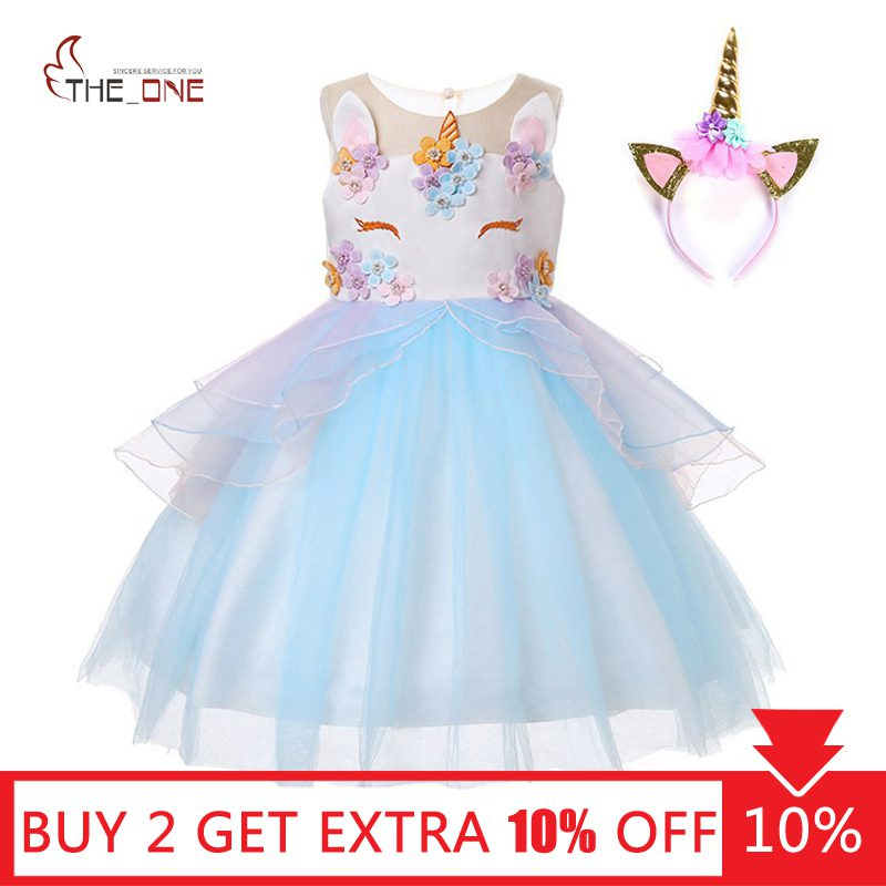 63040e5a8 MUABABY Unicorn Princess Costume Girls Pageant Evening Long Gowns Kids  Sleeveless Embroidery Flower Birthday Party Tutu