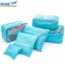 Купить с кэшбэком 2018 6pcs/set Men and Women Luggage Travel Bags Packing Cubes Organizer Fashion Double Zipper Waterproof Wholesale Polyester Bag