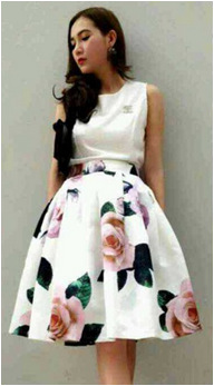 35c3480dc 2015 New Fashion summer Empire Floral Vintage peach blossom print prom  skirt Pleated Midi for women free shipping