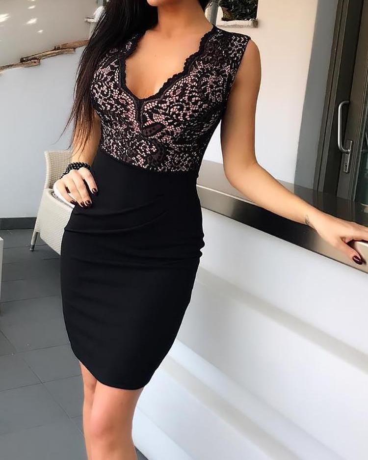 Black Sheath Sleeveless V-Neck Bodycon Mini Dress 3
