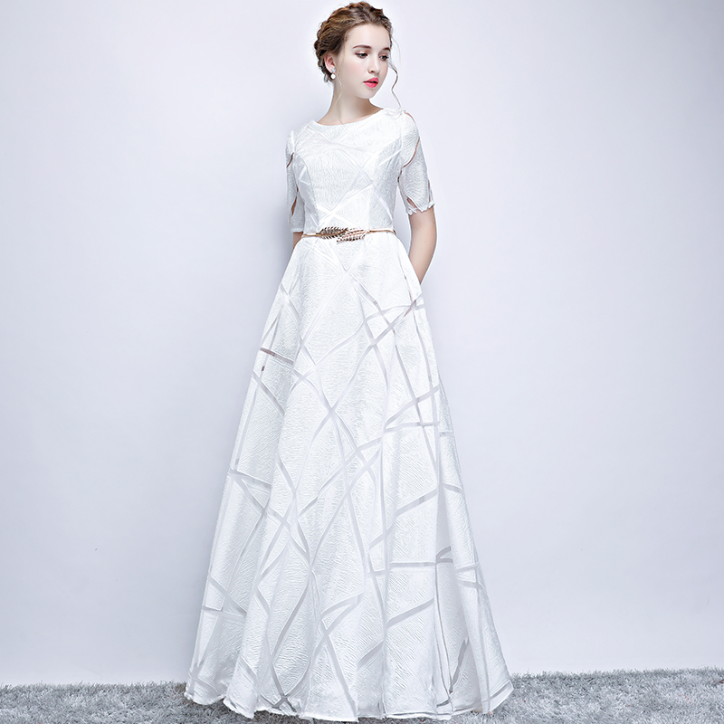 US $75.25 20% OFF Plus Size 3XL High end Gold Belt Women White Party  Dresses A line Gorgeous Dress Short Sleeve Floor Length Evening Gowns  G235-in ...