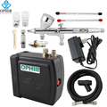OPHIR 12V Mini Airbrush Compressor Set for Nail Art /Cake 3 Tips Dual Action Airbrush Kit with Compressor_AC003B+AC070+AC011