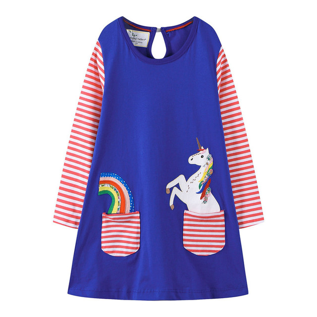 184c1d68ccdb Jumping meters New unicorn applique girls dresses autumn spring ...