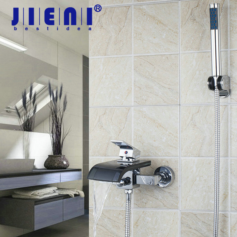 Chrome Wall Mounted Bathroom Faucet Black Glass Spout With Handheld Shower Tap Mixer Faucet Bathtub Basin Sink Mixer Sets new chrome finish wall mounted bathroom shower faucet dual handle bathtub mixer tap with ceramic handheld shower head wtf931