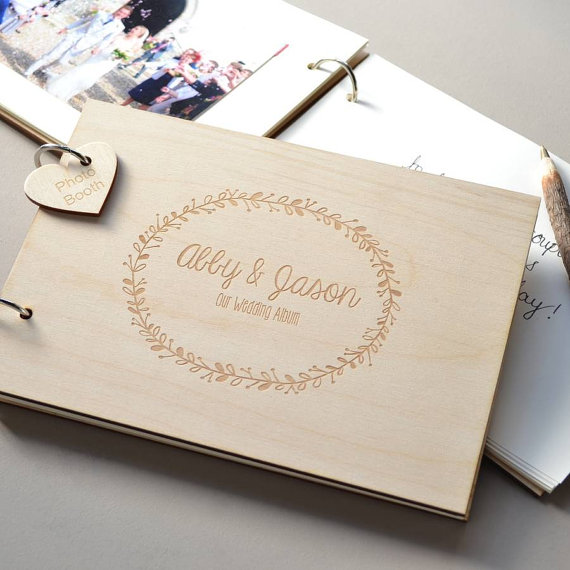 Custom Wedding Guest Book,Engraved Wooden Guest Book,Wedding Sign Book with Name & Date,Personalized Gift for wedding