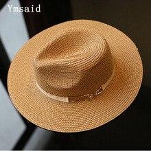 93e9cb97bfdd00 2018 Summer Sun Hat Ladies Wide Brim Metal Belt Straw Hats Panama Hats Women  Solid Color