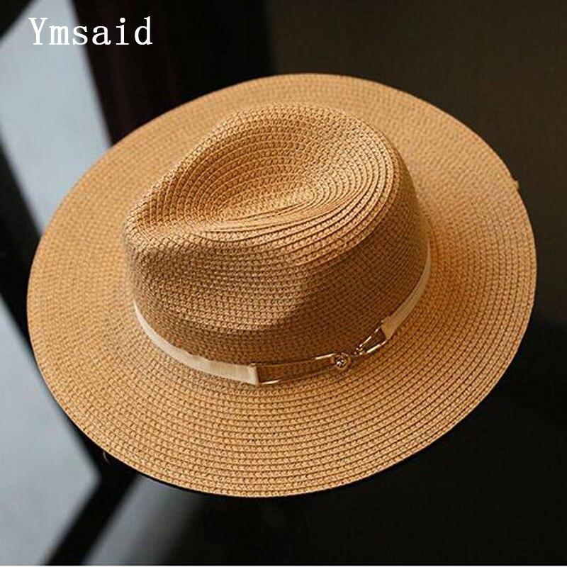 2018 Summer Sun Hat Ladies Wide Brim Metal Belt Straw Hats Panama Hats Women Solid Color Straw Hats