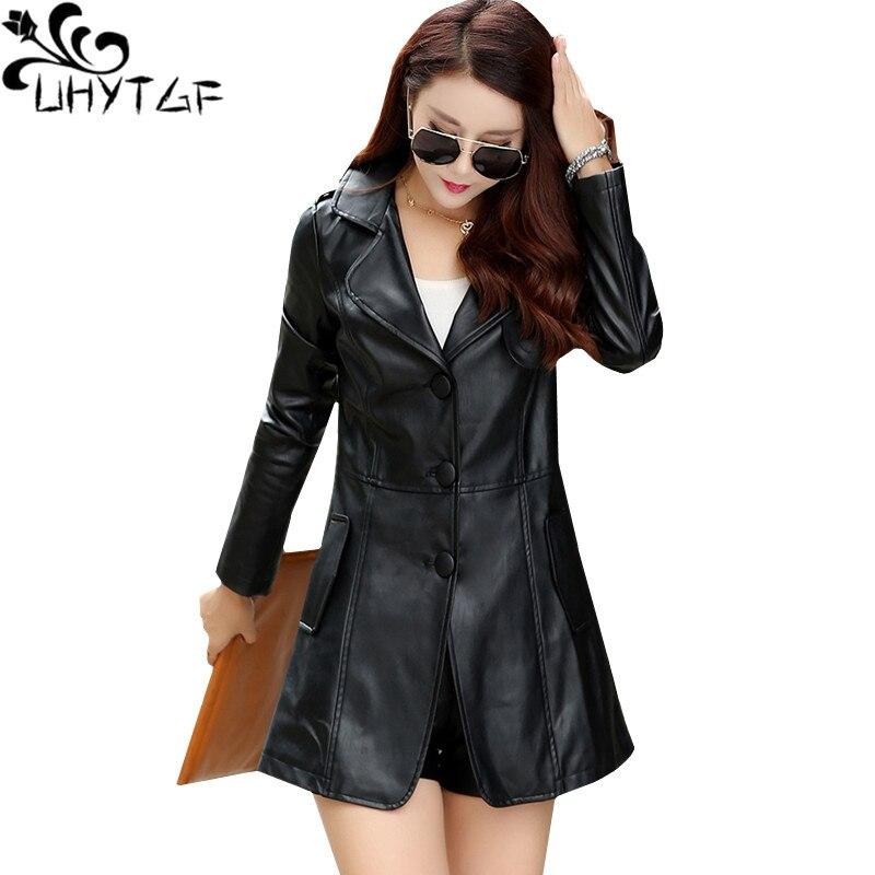 UHYTGF 2XL-6XL high quality PU   Leather   Jacket women Loose warm winter outerwear Fashion V-neck Elegant Lady jacket Oversized 106