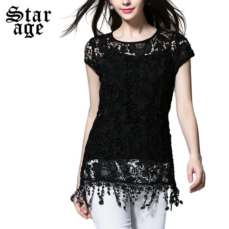 da688647d8504 XL-5XL Women Summer Black Lace Tops 2016 Plus Size Tassel Lace Blouse  Ladies Sexy Hollow Out Short Sleeve Shirts 3811