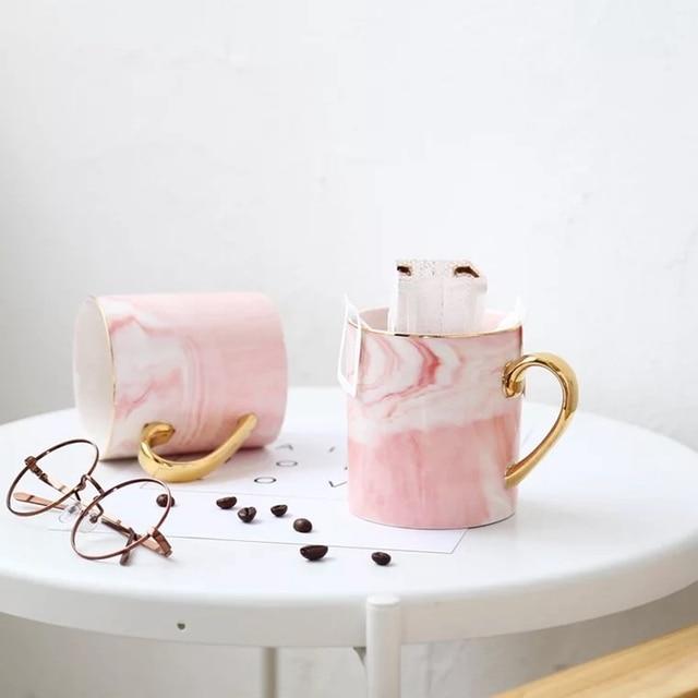 400 ml di caffè di ceramica marmo tazze con manico d'oro marmo naturale ufficio