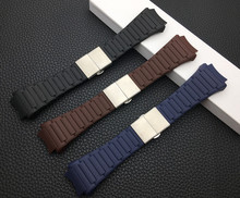 Brand 23x33mm watchband soft silicone rubber PU belt for Porsche strap design blue black brown Watch Band 6620 free tools buckle