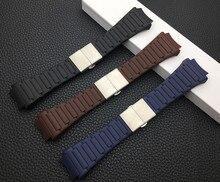 Marka 23x33mm kordonlu saat yumuşak silikon kauçuk PU kemer Porsche kayış tasarımı mavi siyah kahverengi saat kayışı 6620 ücretsiz araçlar toka