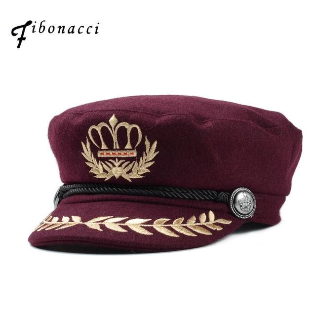 Fibonacci de las mujeres de la moda sombreros militares estilo lana mezcla  3 colores trabajo de a54903fdbd5