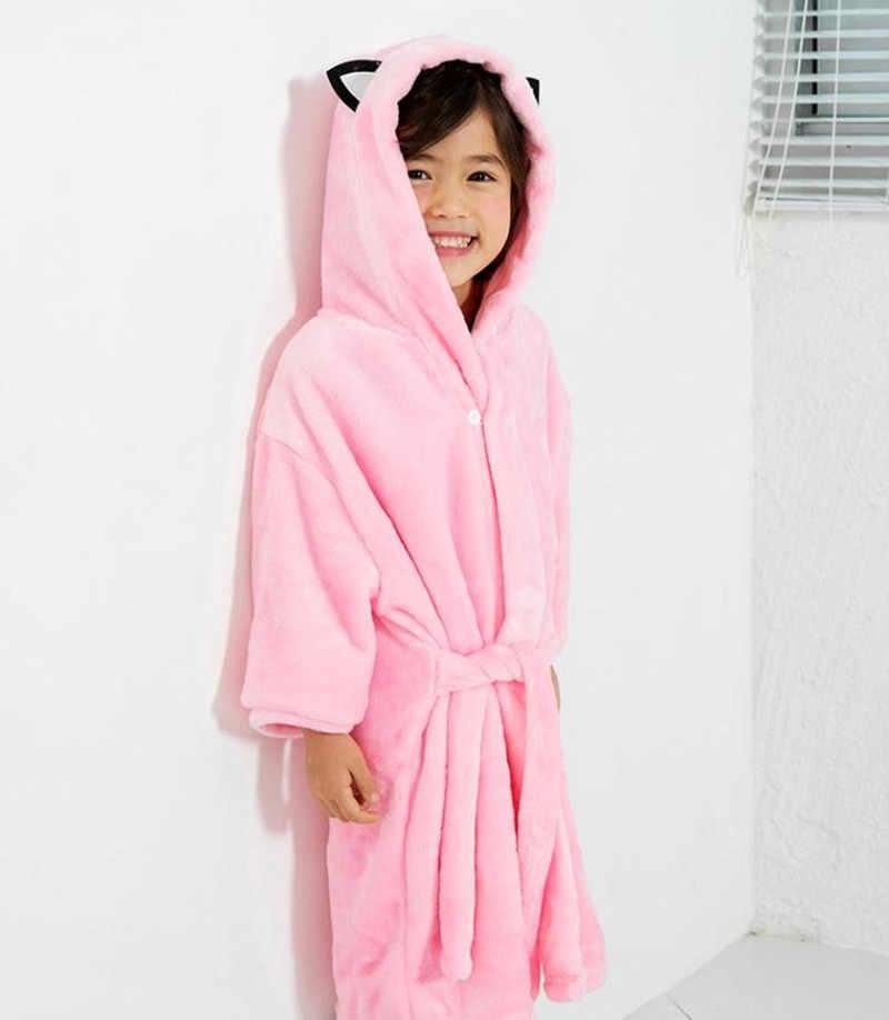 42b2b6b2510e ... Baby Flannel Bathrobes Robe Kids Cartoon Sleepwear Hooded Robes for  Girls Cat Pajamas Boys Thick PJS ...
