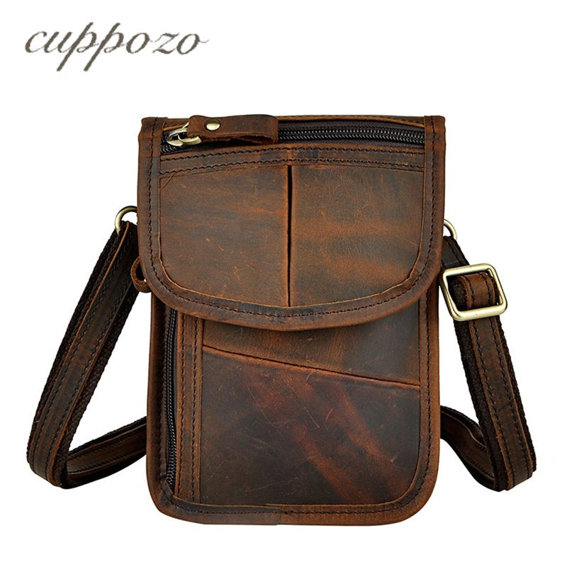 Cuppozo Thin Simple Vintage Small Fashion Shoulder Messenger 7 Inch Crazy Horse Leather Men Belt Waist Bags/Wallet For Iphone цена 2017