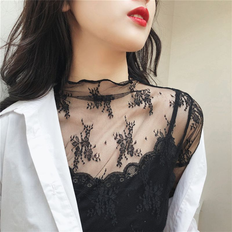 Womens Summer Spring See Through Mesh Basic Long Sleeve Blouse Mock Neck Embroidered Floral Lace Loose Pullover Tops Cover-Ups