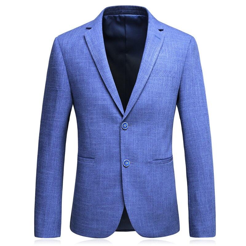 Juego del ocio de los hombres sección delgada azul Business casual no  planchado chaqueta Trajes traje de moda de alta calidad Blazers hombre Gent  vida en ... 97bce1d9920