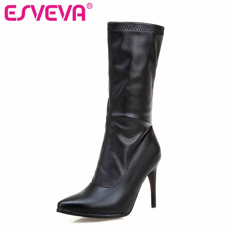 ESVEVA 2020 Kadın Çizmeler Orta buzağı Çizmeler Sivri Burun Fermuar Ince Yüksek Topuklu Çizmeler PU Deri Platformu rahat ayakkabılar Çizme boyutu 34-43