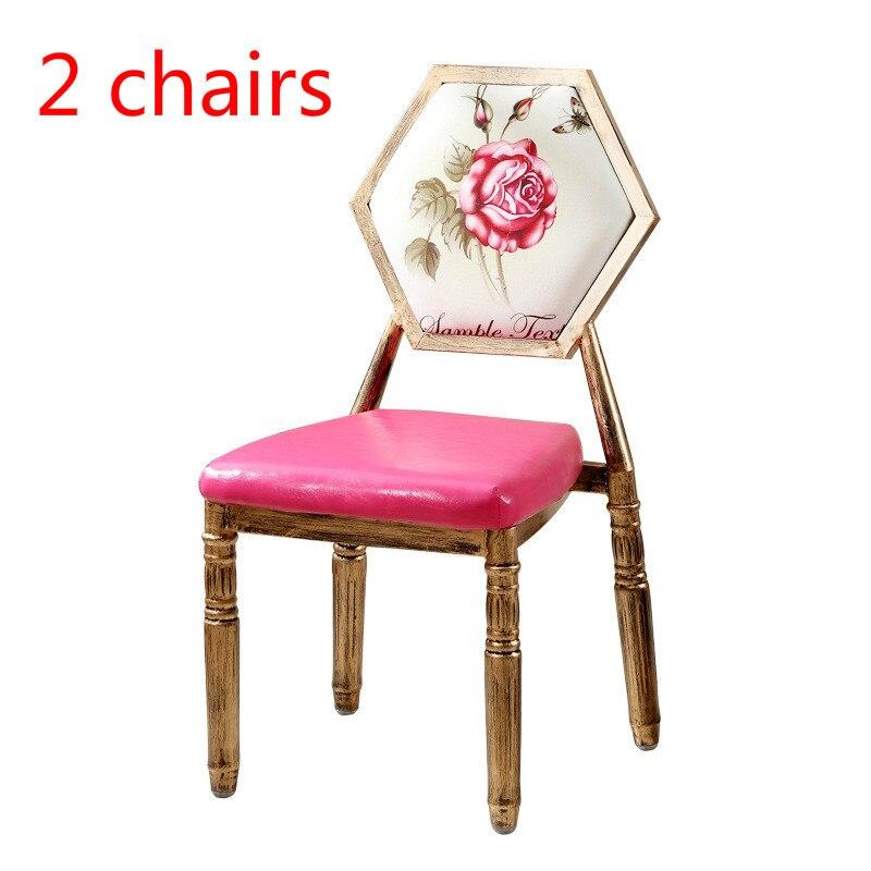 BJ 2pcs Pink European retro chair single iron dining stool creative PU makeup stools Stylish nail chairs Soft sponge cushion