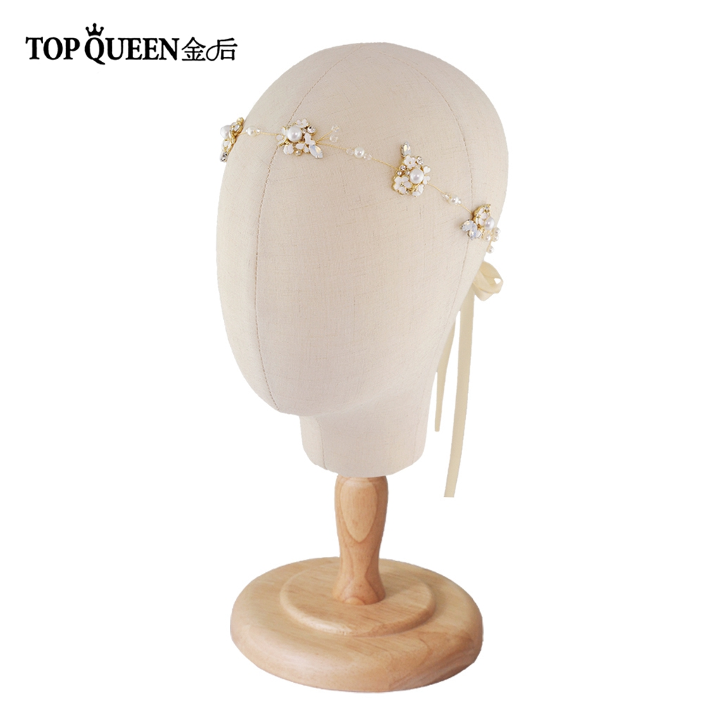 TOPQUEEN HP131 Wedding Flower Hair Accessories For Women Hair Bands For Women Hair Rhinestone Headpiece Bridal Headbands