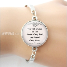 You Will Always Be The Sister of My Soul, Heart Quote Best Friends Bracelet Friendship Glass Dome Jewelry Bangle Gift