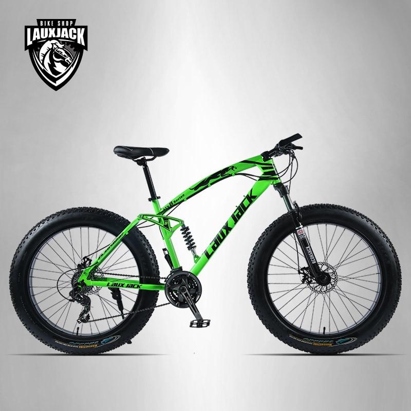 LAUXJACK Mountain Fat Bike 26 Wheels SHIMANO 24 Speed Full Suspended Frame