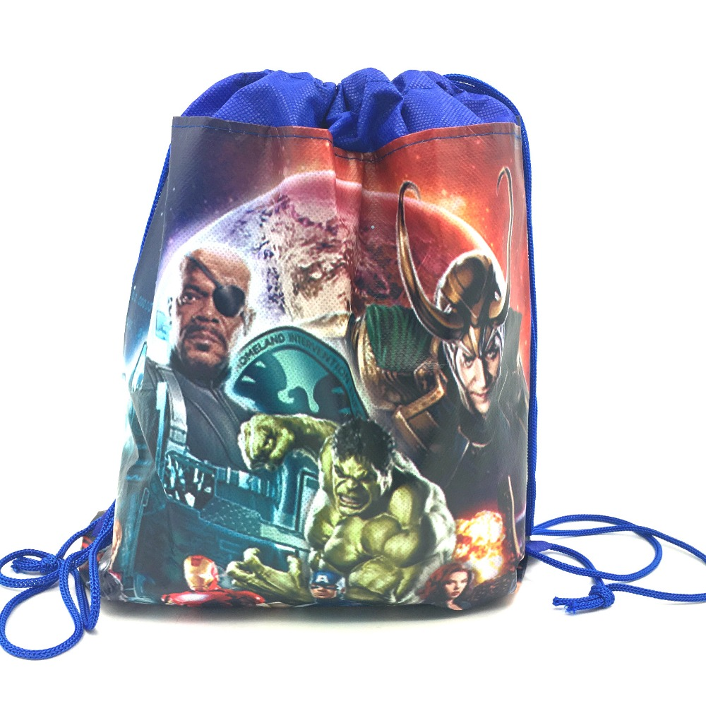 Image 2 - 20pcs 37*24cm Avenger hero non woven fabrics bags drawstring backpack,schoolbag gift bags-in Gift Bags & Wrapping Supplies from Home & Garden