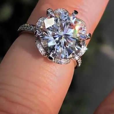 หญิงหรูหราคริสตัล Zircon แหวนหินง่ายน่ารัก 925 เงินแหวนแต่งงานแหวนสัญญาหมั้นแหวน
