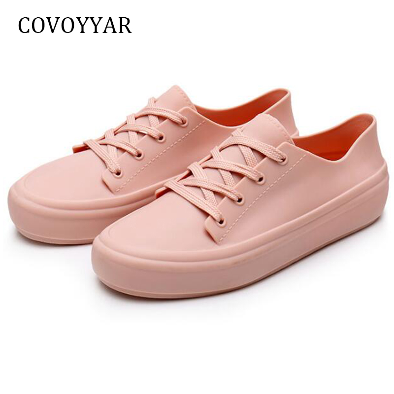 COVOYYAR 2019 Waterproof Women Sneakers White Jelly Shoes Plastic Casual Shoes Platform Lace Up PVC Women Flats WSN719