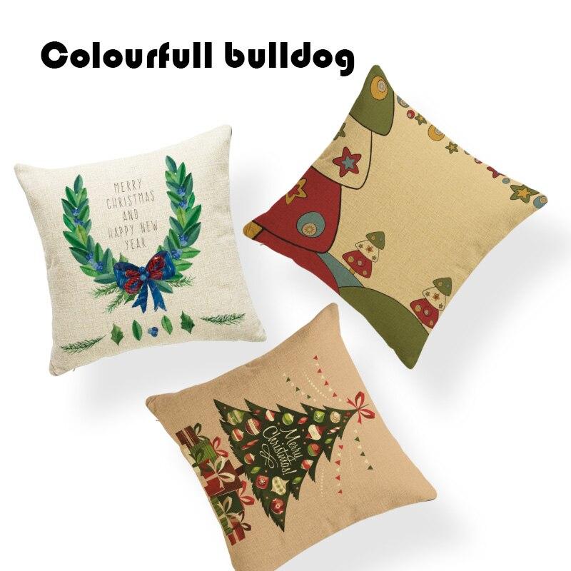 Soft Cushion Covers Cartoon Style Christmas Tree Santa Claus Red Bird Snowflake Green Wreath Balloon Pillows Decorations