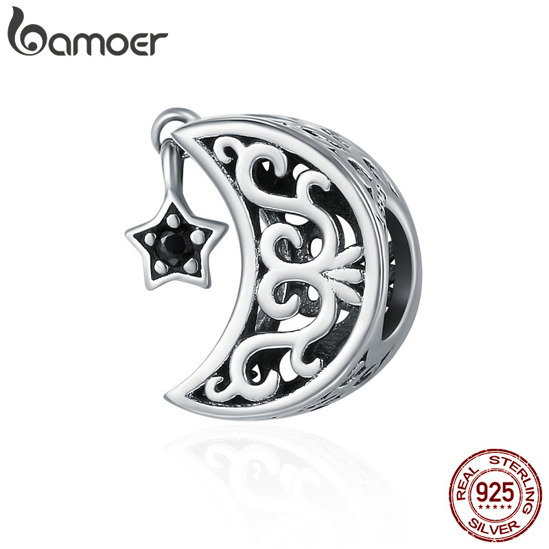 BAMOER 100% 925 Sterling Silver Openwork Moon and Star Goodnight Charm Beads fit Bracelet DIY Jewelry Valentine Day Gift SCC483 charm moon 2015 100