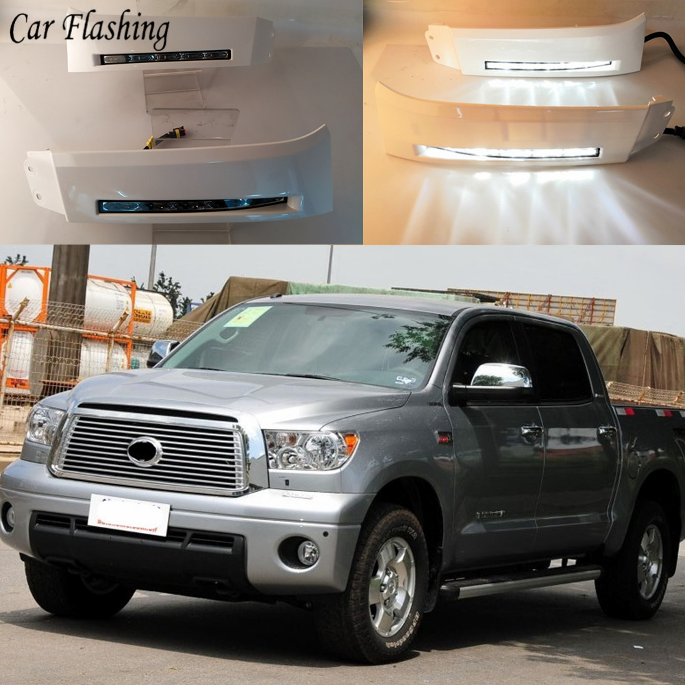2PCS Car 12V LED Daytime Running Lights DRL fog lamp For Toyota Tundra 2007 2008 2009 2010 2011 2012 2013 and Sequoia 2008 ON-in Car Light Assembly from Automobiles & Motorcycles    1
