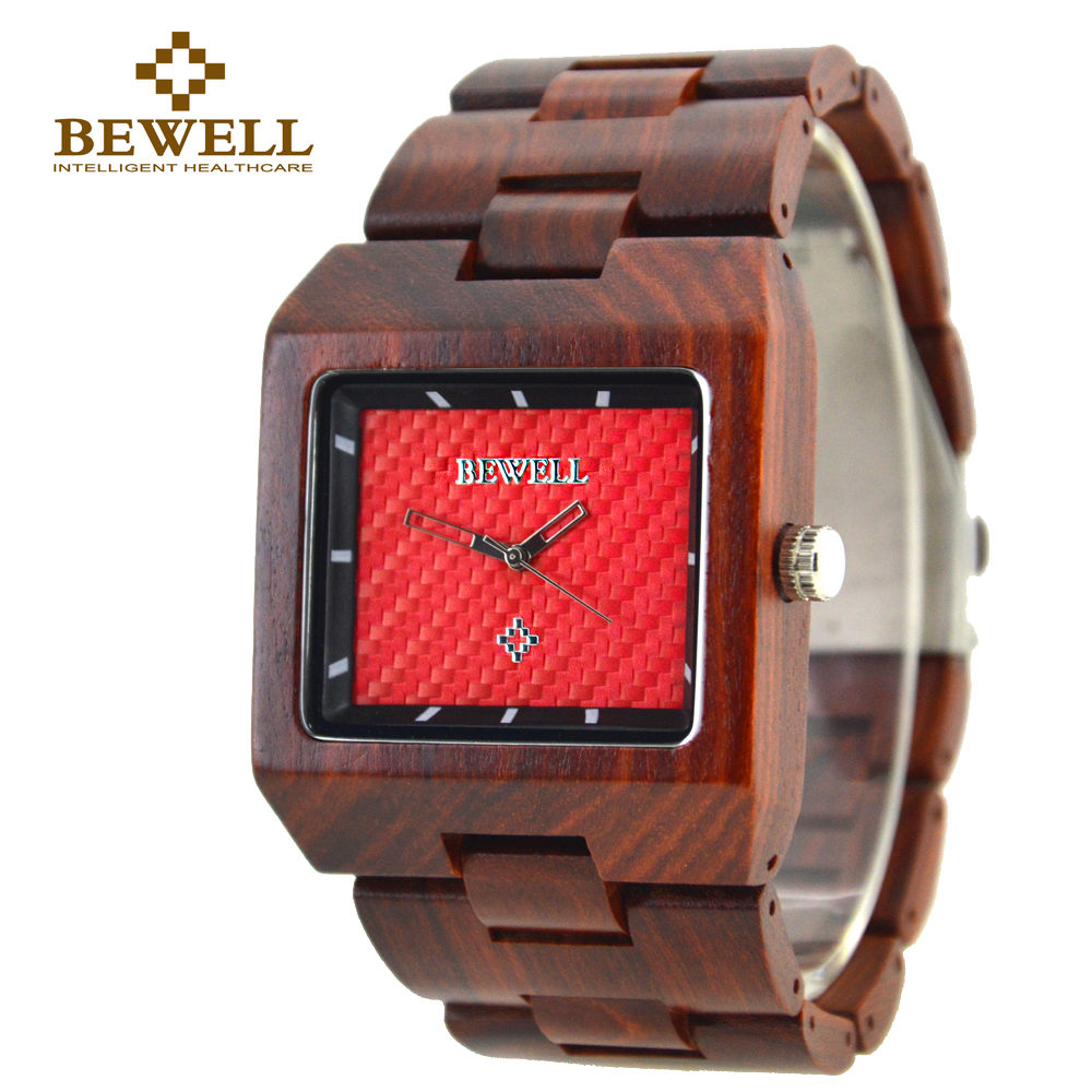 BEWELL Men's Watch Large Size Wooden Watch Man Maple Sandalwood Watch Rectangle Dial Analog Display Brand Design 016A все цены