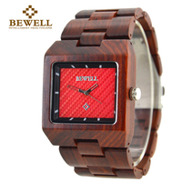 BEWELL Men's Watch Large Size Wooden Watch Man Maple Sandalwood Watch Rectangle Dial Analog Display Brand Design 016A