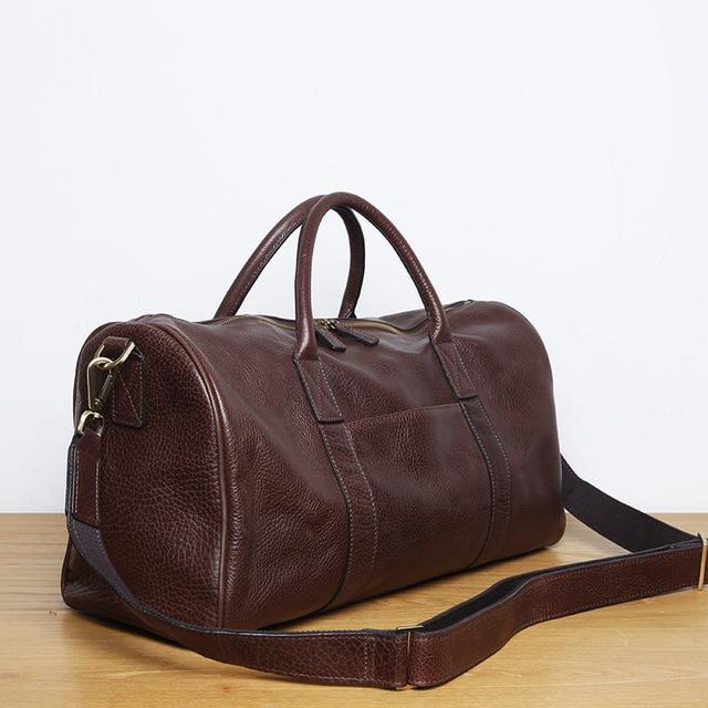 LANSPACE men's leathe travel bag fashion leather luggage fashion large size handbag 5