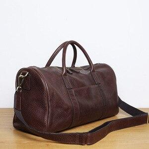 Image 5 - LANSPACE мужская кожаная сумка для путешествий модная кожаная сумка для багажа модная сумка большого размера