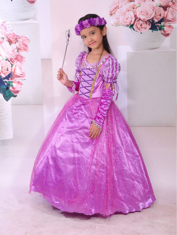 Rapunzel Princess Girls Dress Kids Party Dress Halloween Xmas Tangled Cosplay Costume Girl Clothes Fantasia Vestidos 3-12T new vestidos cosplay costume 2017 girls weeding party princess dress baby kids girl children dress vestidos for children clothes