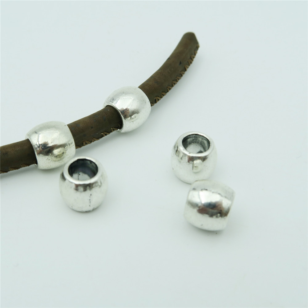 For 5mm Leather Zamak Metal Beads Antique Silver Ball Jewelry Supply Findings Components D-5-5-39