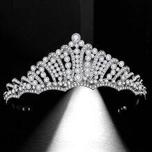 SLBRIDAL Alloy Alloy Clear Rhinestone Crystal Wedding Tiara Crown Bridal Hair Accessories Bridesmaids Princess Women Jewelry
