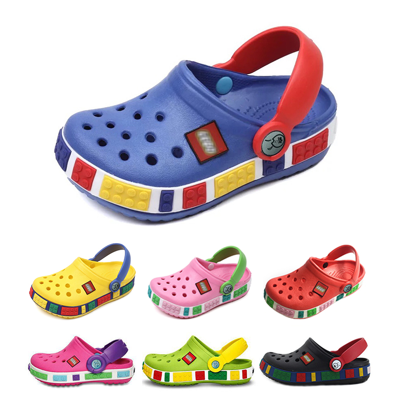 New Fashion Slipper Summer Children's Slippers Cartoon Blocks Cave Shoes Boys and Girls Antiskid Baby Slippers Beach Shoes