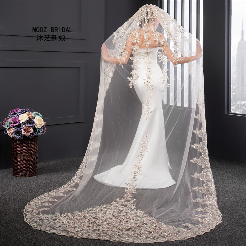 Champagne Wedding Veils 2017 Real Images New Style Sequins Appliques One Layer Veils In Stock Luxury