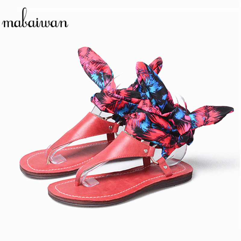 Mabaiwan Fashion Red Women Summer Shoes Gladiator Leather Sandals Flip Flops Ankle Strap Shoes Woman Casual Beach Shoes Flats