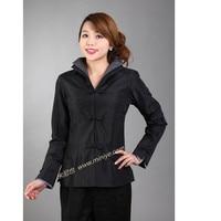 Descuento grande negro Satén de seda femenino traje vintage botón color sólido turn-Down chaqueta de cuello tamaño S A XXXL T043