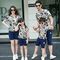 2016 verano nueva marca parejas visten traje del padre-niño, una familia de cuatro delgada de manga corta Camiseta de juego del ocio