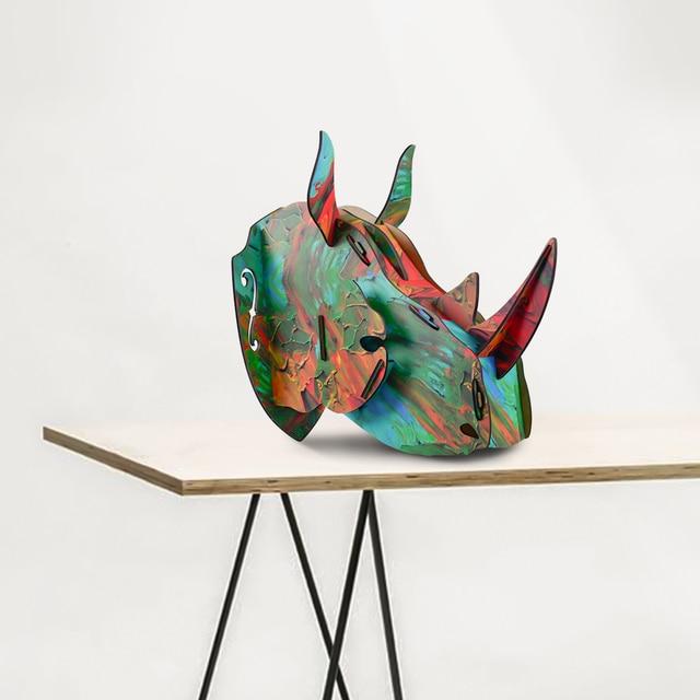 2016 Modern Wood Rhino Head DIY Animal Ornaments Artist Home Decoration Wall Hanging