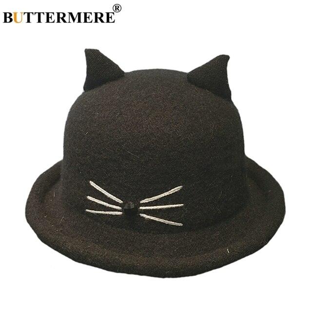 BUTTERMERE Womens Black Bucket Hat Wool Cat Ears Vintage Fishing Hat  Adjustable Ladies Japanese Spring Winter Kawaii Bucket Hats 3673e83b655