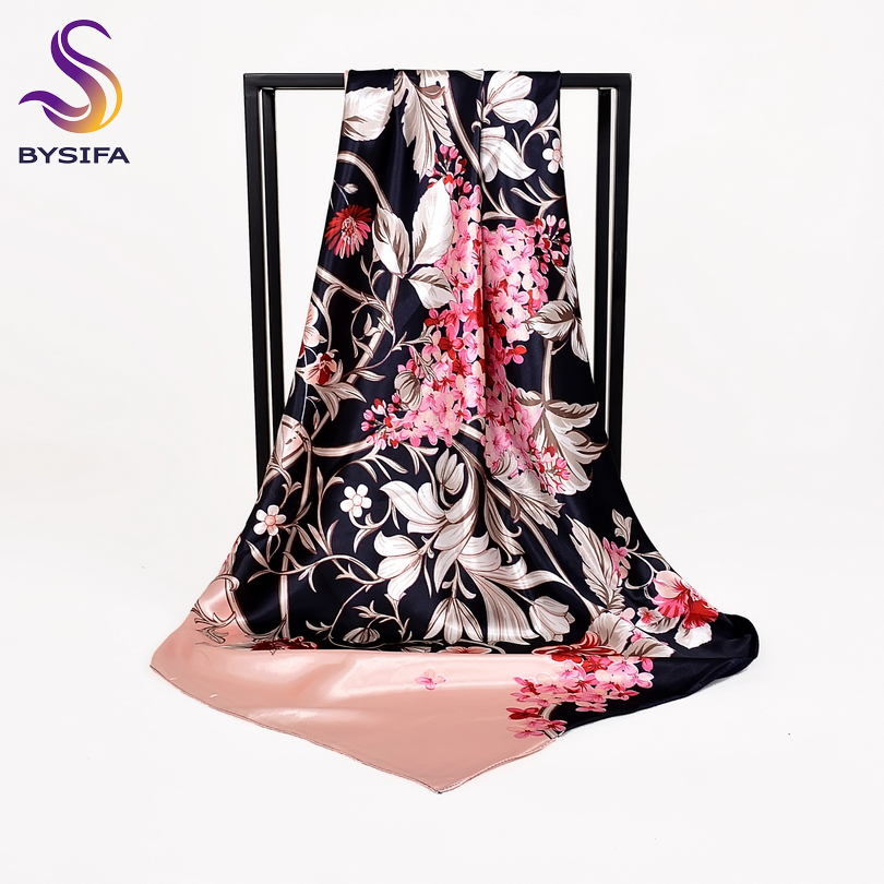 [BYSIFA] Women Chinese Style Navy Blue Pink Silk Scarf Shawl Winter Brand Square Satin Scarves Wraps Spring Autumn Headscarves