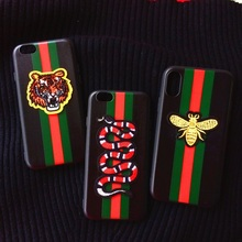 Здесь можно купить  Soft Luxury 3D Embroidere Bee Tiger Snake Brand Case for Iphone X 6 6S 7 8 Plus 5S SE Silicone Cover Man Lady Case Protector TPU