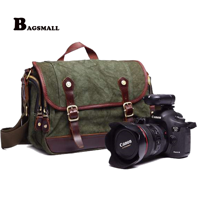 BAGSMALL Canvas Camera Bag For Canon DSLR 2 Lenses Casual Men's Crossbady Bags Sony Camera Shoulder Messenger Bag fit Nikon high quality army green rucksack canvas backpack camera bag for nikon canon sony dslr camera